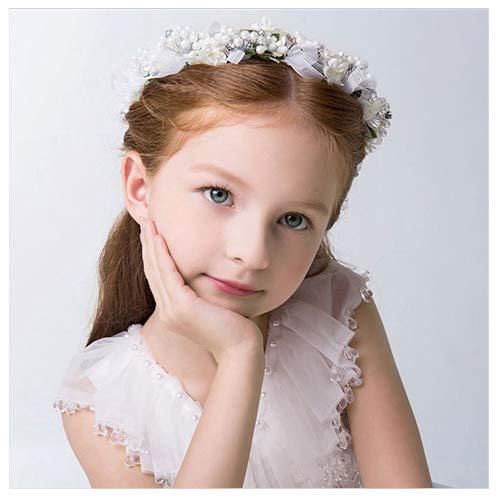 - Campsis Cute Princess Wedding Headpiece Flower Wedding Hair Accessories Pearl Rhinestone Headband Bridal Wedding Tiaras for Flower Girl and Women.(White)