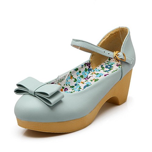 Round Soft Women's Solid Blue Kitten WeiPoot Buckle Closed Shoes Pumps Toe Material Heels qXdwx11S0