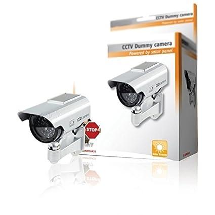 CCTV Premium falso/maniquí cámara de seguridad CCTV con energía solar con LED parpadeante luz