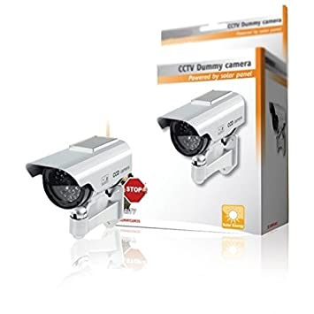 CCTV Premium falso/maniquí cámara de seguridad CCTV con energía solar con LED parpadeante luz - interior Exterior - Plata by DELIAWINTERFEL: Amazon.es: ...