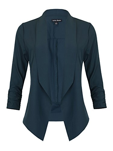 Instar Mode Women's Lightweight Fly Away Thin Chiffon Ruched Sleeve opened Blazer (H. Green, Small)