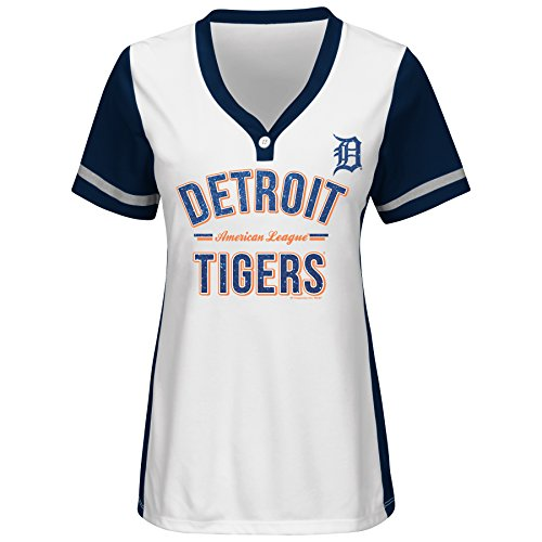 MLB Detroit Tigers Women's Team Name Rugged Competitor Pull Over Color Block Jersey, Small, White/Athletic (Athletics Tigers)
