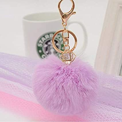 Amazon.com: Rarido Fashion Crystal Pompon Fluffy Porte Clef ...