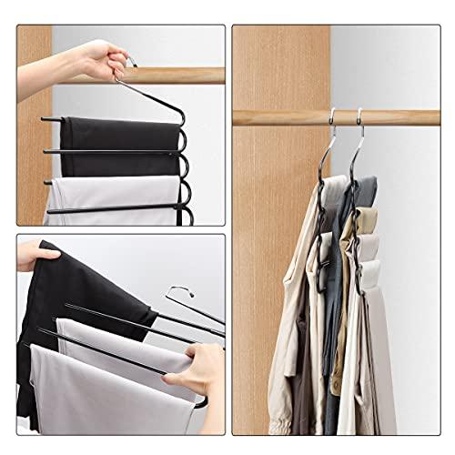 HuaQi Pants Hangers Space Saving Hangers for Closet Organizer Non Slip Closet Storage Organizer for Jeans Towels Scarves (Black, 2)