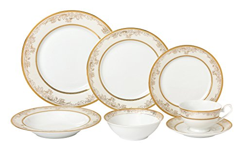 Lorren Home Trends 28 Piece 'Chloe' Bone China Dinnerware Set (Service for 4 People), Gold