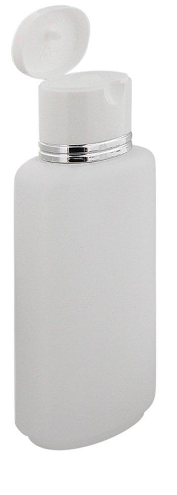 Kosmetex Ovale Klappflaschen transparent mit Silberrand 250ml leer Zum Befüllen mit Gel, Lotion, Shampoo Duschflasche, 1 Stück 1 Stück
