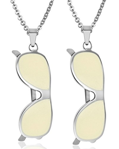 Daesar His & His Necklace Set Couples Stainless Steel Lovers Sun Glasses CZ Pendant - Nordstrom Sunglasses Mens