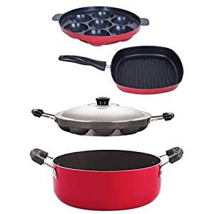 Nirlon Non-Stick Appam Appam Grill Pan Casserole Aluminium Cookware Set, 5-Pieces, Red/Black(AP7_AP12_GP24.5_CS24)