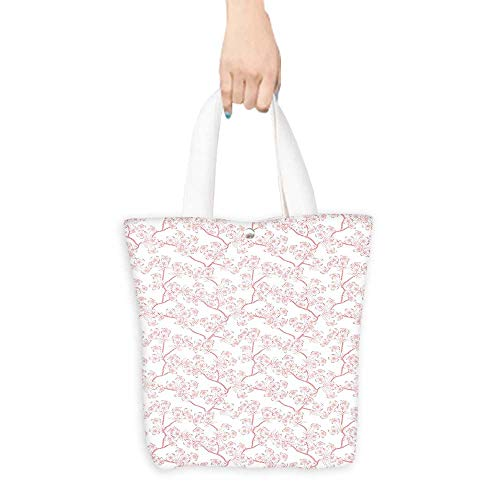 Canvas Tote Bag Cherry Blooming Butterflies over Stripes Sunlights Curvy Lines Ornamental Artwork Pink Gra Perfect for Shopping, Laptop W16.5 x H14 x D7 INCH