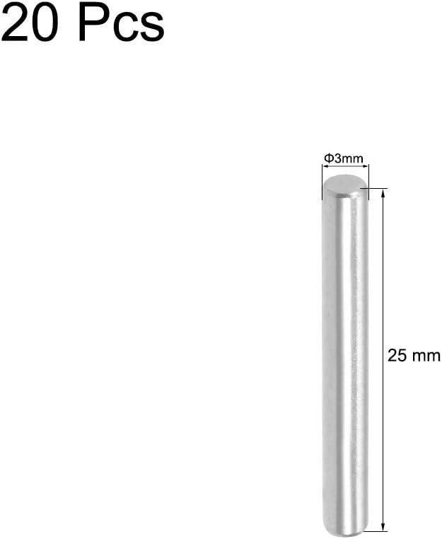 sourcing map 20pz 3mm x 25mm Spina centraggio Reggipiano Perno Fissare Elementi Argentato