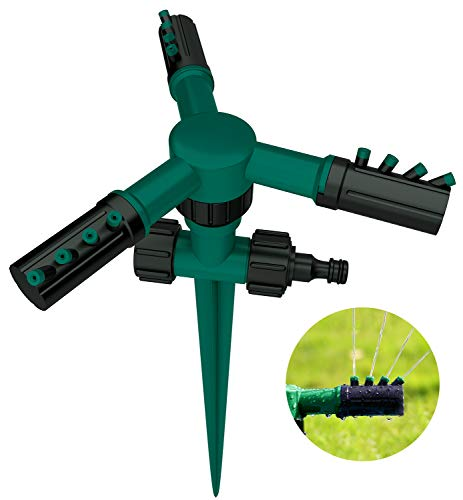 CandyHome Lawn Sprinkler, Adjustable 360 Degree Automatic Rotating Garden Water Sprinklers Lawn Irrigation System with Leak Free Design Durable 3 Arm Sprayers, Spike Base