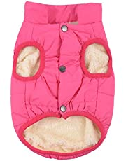 Rantow Padded Warm Winter Dog Coat Jackets Windproof Cozy Pet Dog Clothes Outfit Vest Suit for Small Medium Large Dogs, Red/Dark Blue/Brown