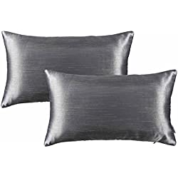 "Euro Couch Throw Pillow Covers - PONY DANCE Supersoft Rectangle Accent Decorative Cushion Covers Handmade Pillow Cases for Chair Including Hidden Zipper,Charcoal Grey,12"" x 20""(30 x 50 cm),2 Packs"