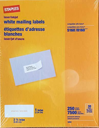 (Staples White Inkjet/Laser Address Labels 1