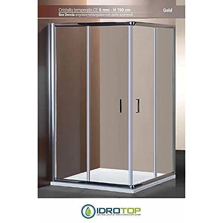 Box Doccia 80 X 120.Shower Box 80 X 120 Cm Rectangular Angle Ponsi Gold Crystal Glass