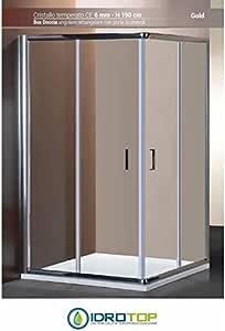 Mampara de Baño 60 X 100 cm, Diseño de Esquina Ponsi Serie Gold Rectangular de Cristal Transparente con Puertas Correderas: Amazon.es: Hogar