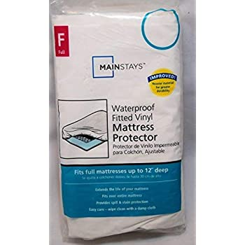 Amazon.com: Mainstays Vinyl Fitted Mattress Protector, White, Full: Home & Kitchen