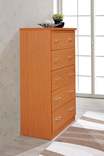 Hodedah 5 Drawer Chest, with Metal Rails,