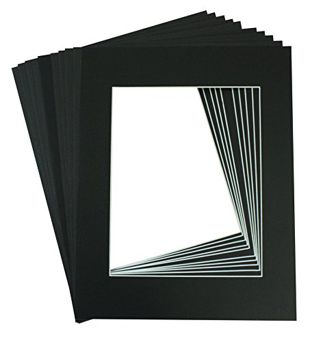 Golden State Art Pack of 10, Acid-Free Black Pre-Cut 11x14 Picture Mat for 8x10 Photo with White Core Bevel Cut Frame Mattes
