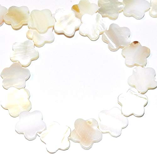 Natural White 15mm Flat Flower Mother of Pearl Shell Beads 15 ()