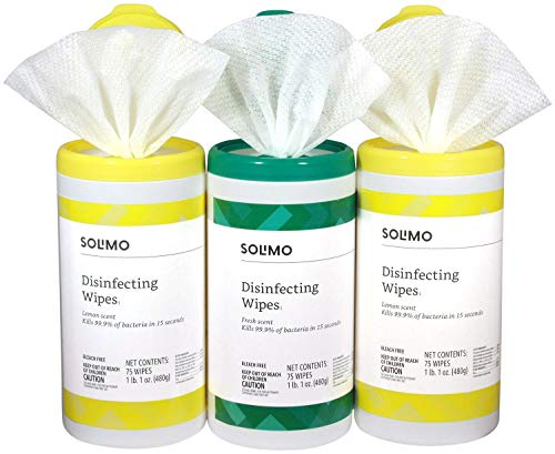 Amazon Brand - Solimo Disinfecting Wipes, Lemon Scent & Fresh Scent, 75 Wipes Each (Pack of ()