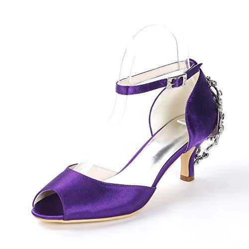 Purple Toe Grande Altos Peep Hebilla Novia L Tacón Señaló Tacones Mujer De Marfil Bailarina yc Zapatos 6cm nw88Oxq7aP
