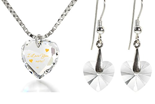 Crystal Tiny Heart Jewelry Set Gold Inscribed I Love You More Necklace and Drop Earrings, 18'' 925 Silver by Nano Jewelry