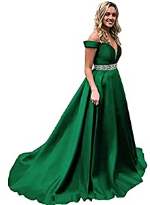 Homdor Beaded Off Shoulder Prom Dress A-Line Satin Evening Formal Gown for Women