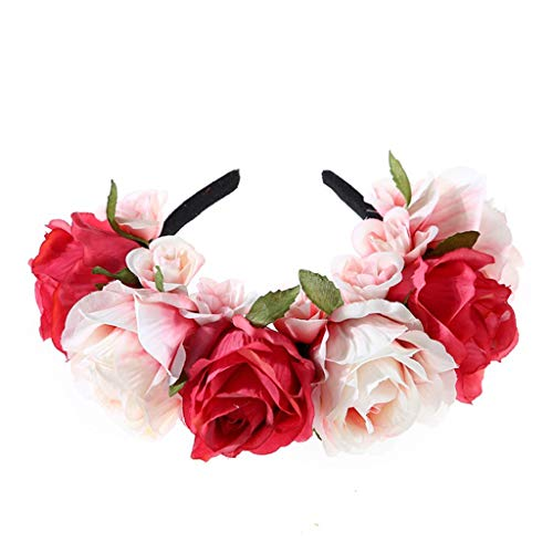 YoYoly halloween costumes,Women Flower Crown Bohemian Rose Headband