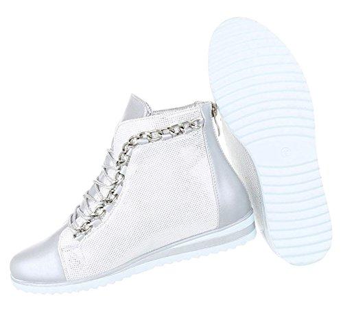 Damen Sneakers Keilabsatz | Sneaker Wedges | Keilabsatz Schuhe | Wedge Sportschuhe | Freizeitschuhe Reißverschluss | Schnnürschuhe High Top | Schuhcity24 Silber