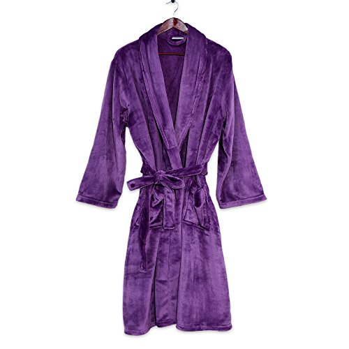 Berkshire Blanket Velvetloft Plush Luxury Spa Robe, Imperial Purple