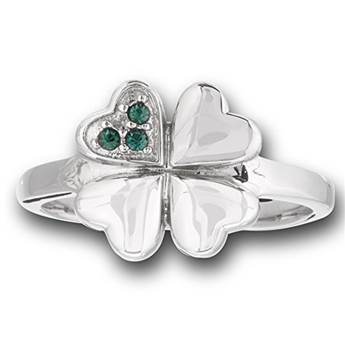 Simulated Emerald Heart Clover Shamrock Flower Ring Stainless Steel Band Size 6 (Emerald Shamrock)