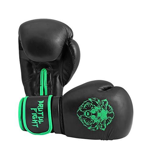 (Brutul Fight Boxing Gloves, Kickboxing Bagwork Gel Sparring Training Gloves, Muay Thai Style Punching Bag Mitts, Fight Gloves Men & Women (Black/Green, 14 Oz))