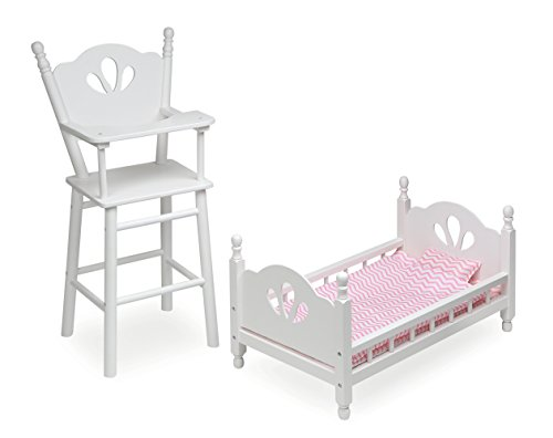Basket Badger Beds - Badger Basket English Country Baby Furniture High Chair/Bed Playset (fits American Girl Dolls), White/Pink