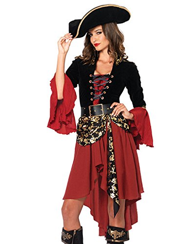 Images Pirates Caribbean Costumes (Kidsform Women Ladies Halloween Pirate Costume Fancy Long Maxi Dress With a Belt and a Hat Red One Size)