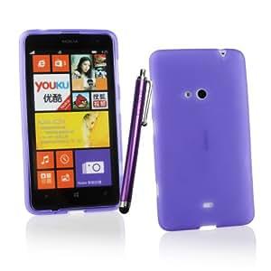 Kit Me Out ES ® Funda de gel TPU + Lápiz óptico violeta capacitivo / resistivo + Protector de pantalla con gamuza limpiadora de microfibra para Nokia Lumia 625 - Violeta Acabado esmerilado