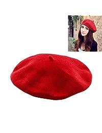 HOTBESTUS Wool Beret Hat - Red French Beret Women Winter Autumn Hat