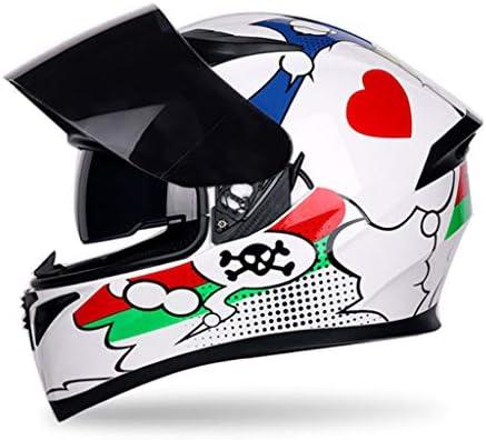 NJ ヘルメット- オートバイ機関車ヘルメット男性と女性四季ユニバーサル紅茶防曇二重レンズヘルメット (Color : C, Size : L)