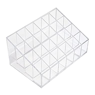 1 X MERSUII 5.8  x 3.8  x 2  Transparent Clear Acrylic Trapezoid 24 Lattices Lipsticks Cosmetic Lotion Makeup Organizer Storage Display Holder Stand