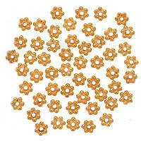 Vermeil Daisy Spacers Beads (22K Gold Vermeil Bali Silver Daisies Spacers 4mm (50 Beads))