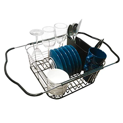 Reliancer Expandable Dish Drying Rack Over the Sink Dish Drainer Stainless Steel Kitchen Counter Top Rustproof 3-in-1 Bowl Plates Storage Holder w/Removable Utensil Holder