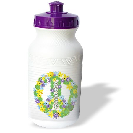3dRose wb_101288_1 Green, Purple, Yellow Flowered Peace Sign Sports Water Bottle, 21 oz, White