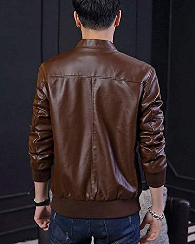 Slim Cappuccio Casual Con Marrone Dimensione colore Capispalla Giacca Fit Da In Uomo large Marrone Xxx Per Fuweiencore Moto Pu WC1nBqSq