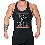 WUAI Mens Workout Fitness Tank Tops Casual Muscle Bodybuilding Gym Sports Shirts Tops(Black,US Size S = Tag M)