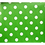 GREEN POLKA DOT SPOTS PVC OILCLOTH VINYL FABRIC KITCHEN CAFE BAR TABLE WIPECLEAN PICTURE TABLECLOTH PER METRE 100CM X 135 CM BRAND NEW CUT TO ORDER by QUICKFABRICS