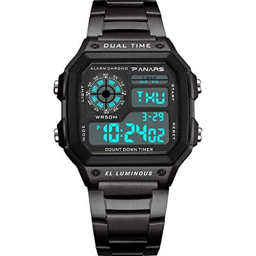⌚ Digital Sports Wrist Watch Square Fashion Electronic Watch Multi Function Alarm Clock Calendar Water Resistant Watches for Men,Women & Student ⌚ (Black) - Square Arabic Clock