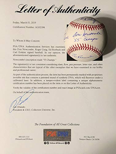 Don Newcombe Roger Craig Carl Erskine Ed Roebuck Autographed Signed Memorabilia Baseball 55 Champs PSA