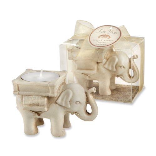 Kate Aspen  Lucky Elephant Tea Light Holder Bundle of 24, White ()