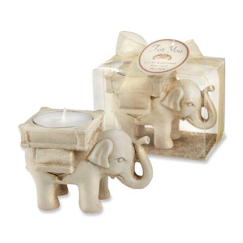 (Kate Aspen  Lucky Elephant Tea Light Holder Bundle of 24, White)