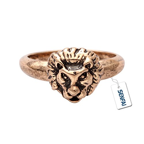 - SENFAI Vintage Punk Lion Head Charm Finger Ring Unisex Gift (8)